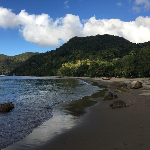 La plage devant laquelle nous mouillons