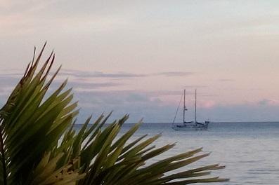 Lambarena au soleil couchant (True Blue bay)