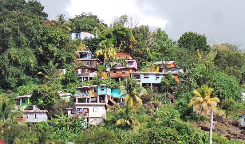 Gouyave : maisons sur les collines