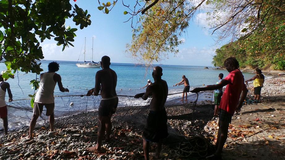 Nous aidons les pêcheurs à tirer le filet sur la plage