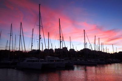 coucher de soleil sur la marina de Portimao